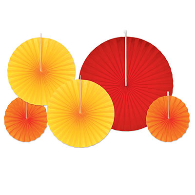 red, yellow, and orange hanging paper fans
