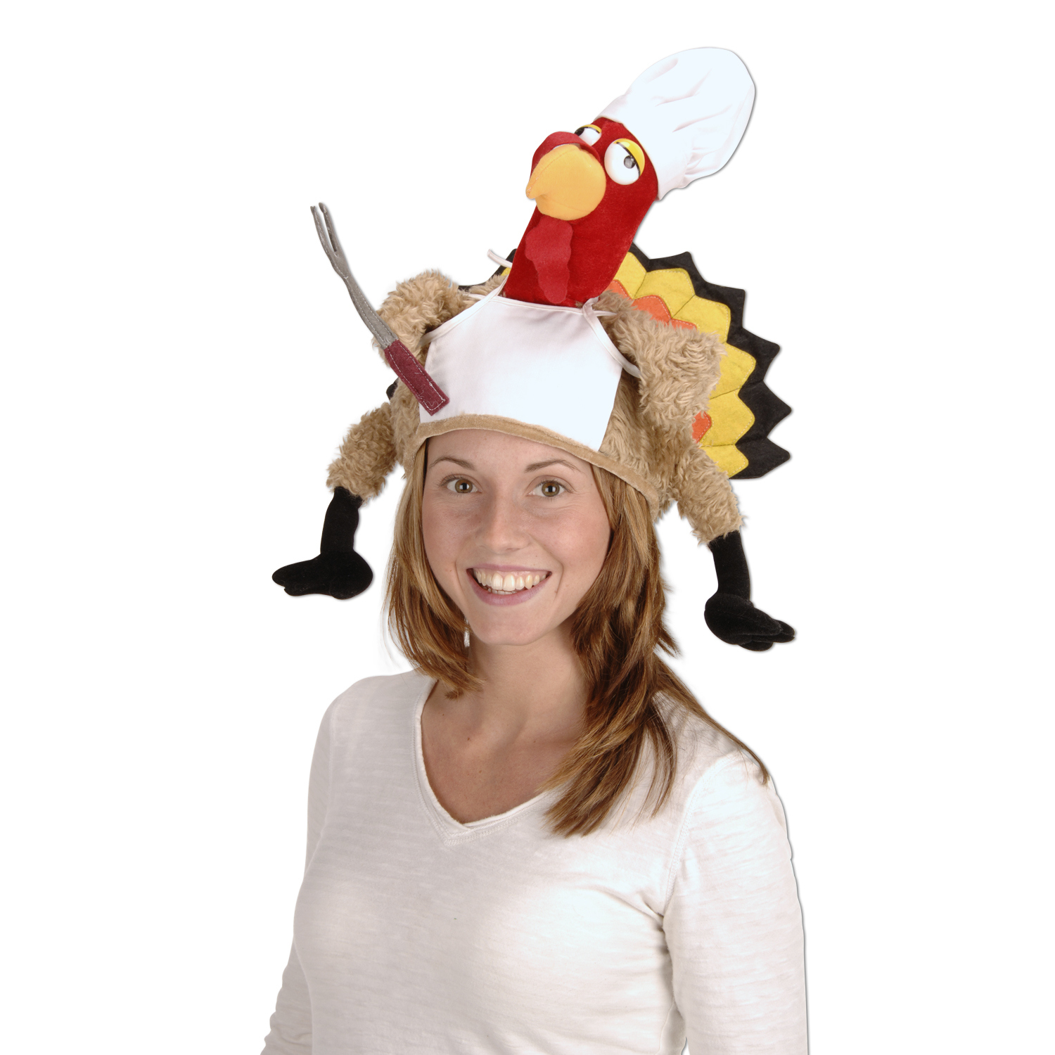 Plush Chef Turkey Hat (Pack of 4) Plush Chef Turkey Hat, Thanksgiving, party favor, turkey, wholesale, decoration, inexpensive, bulk