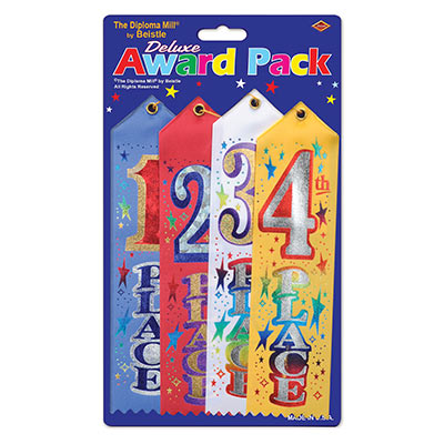 1st/2nd/3rd/4th Place Award Pack Ribbons (Pack of 6) 1st/2nd/3rd/4th Place Award Pack Ribbon, 1st, 2nd, 3rd, 4th, award, ribbon, classroom, sports, wholesale, inexpensive, bulk