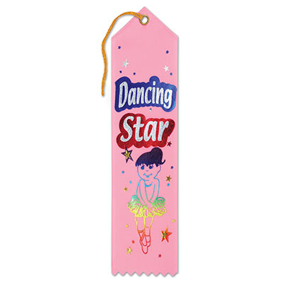 Dancing Star Award Light Pink Ribbon with Silver lettering outlined in red and blue