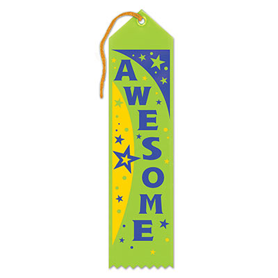 Awesome Award Green Ribbon with blue lettering and yellow, green and blue stars