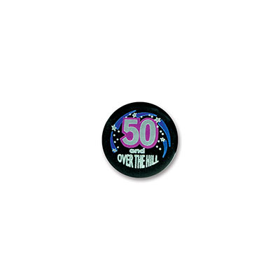 50 & Over The Hill Satin Button (Pack of 6)