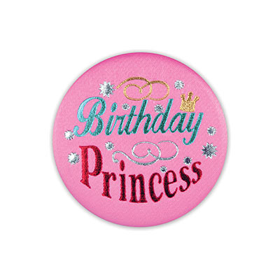 Birthday Princess Satin Pink Button with blue and red lettering with star and swirl designs
