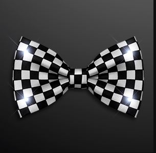 Black and White Light Up Checker Bow Tie. This Black and White Checker Bow Tie will class up any outfit.