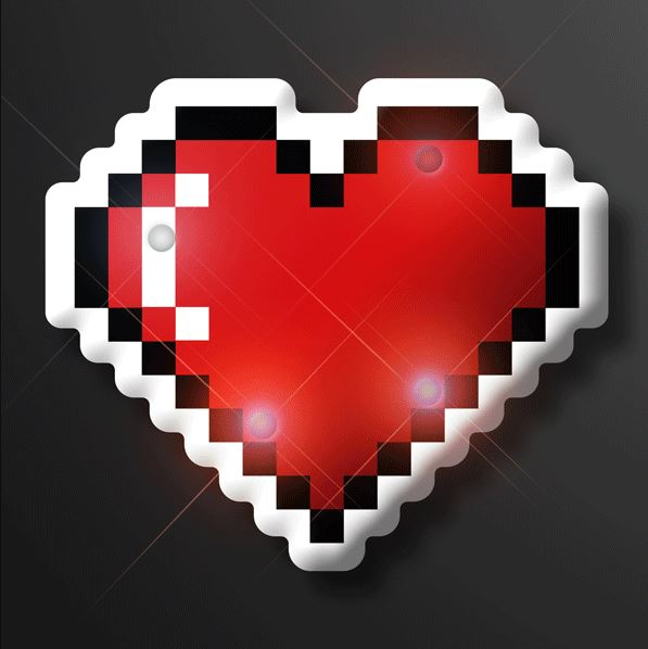 Pixel heart pins that lights up with LED lights.