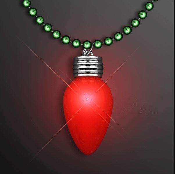 Green beads with a red bulb that lights up.