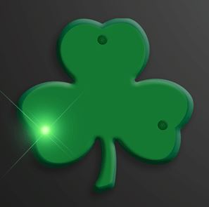 Blinky Green Shamrock Flashing Pins. These Green Shamrock Flashing Pins will add flare to any St. Patricks Day outfit.