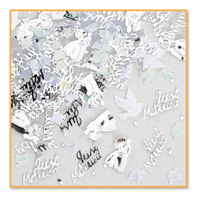 Wedding Day Silver Fancy Lettering Confetti