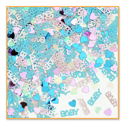 Baby On The Way Confetti with multi colored hearts
