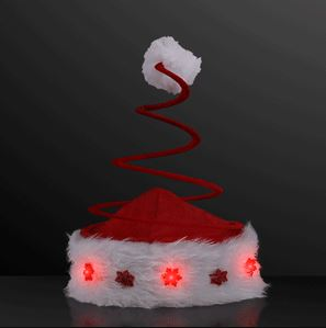 Coil spring Santa hats that lights up.