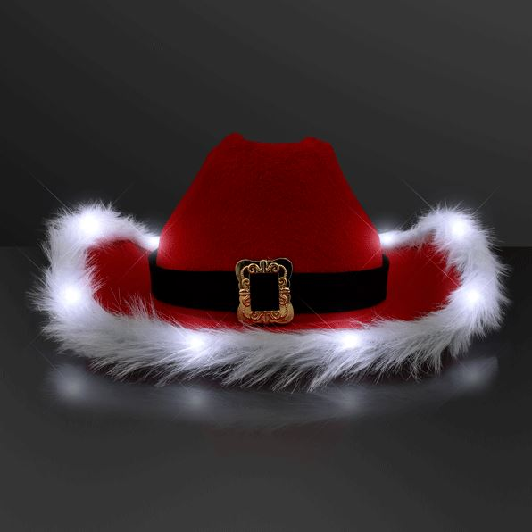 Cowboy hat with red velour, white faux material and a band to replicate Santas belt.