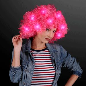 Curly Clown Wig with Pink Flashing LEDs. This Curly Clown Wig is perfect for outdoor glow in the dark parties.