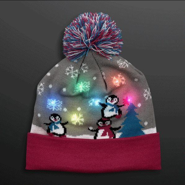 53f6941565c01 Cute Penguins LED Beanie Hat (Pack of 6) LED Cute Penguins Beanie Hat