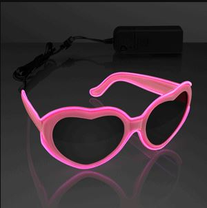 EL Wire Glowing Pink Heart Sunglasses perfect for Valentines Day