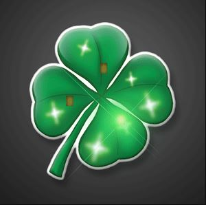 Flashing Four Leaf Clover Blinking Pins. These Four Leaf Clover Blinking Pins are the perfect addition to any St. Patricks Day outfit.