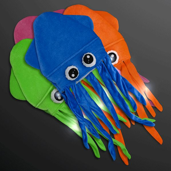 Silly squid hats in blue, orange, pink and green that flashes.