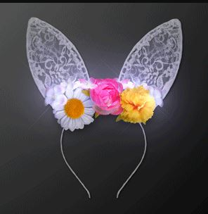 Floral Lights & Lace Bunny Ears Headband (Pack of 12) Floral Lights & Lace Bunny Ears Headband, floral, lights, light up, lace, bunny ears, headband, party favor, Easter, wholesale, inexpensive, bulk