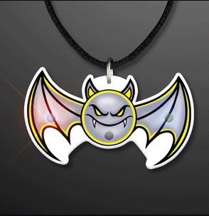 Flying Vampire Bat Blinky Lights Necklace (Pack of 12)