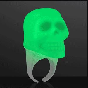 Green Glowing Light Up Skull Ring for Halloween