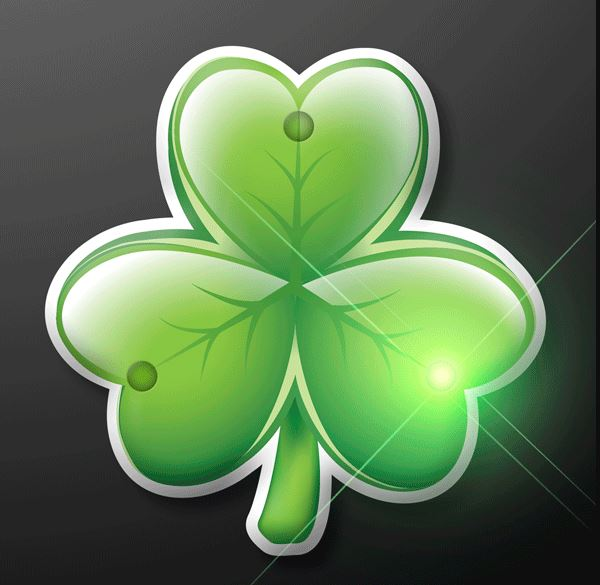 Irish shamrock blinking pin with LED lights.