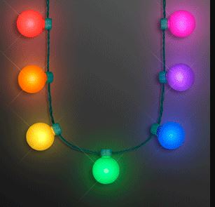 Necklace of globes that lights up with rainbow colors.