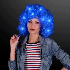 Light Up Blue Afro Wig. This Light Up Blue Afro Wig is perfect for glow in the dark parties.