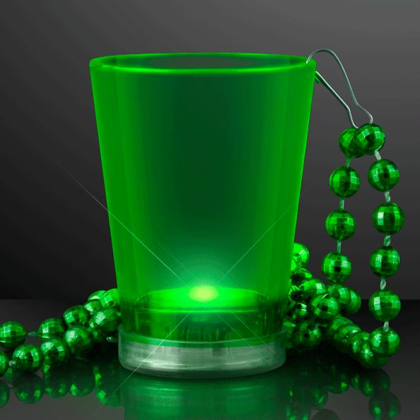 Light Up Green Shot Glass Bead Necklaces. This Light Up Shot Glass Necklace will add fun colors to drinking.