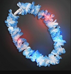 Light Up Hawaiian Leis (Pack of 12) - SELECT A COLOR LED Light Up Hawaiian Leis, Light up Leis, Lulu Themed Party, Light up items