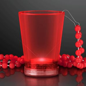Light Up Red Shot Glass Bead Necklaces. This Light Up Shot Glass Necklace will add fun colors to drinking.