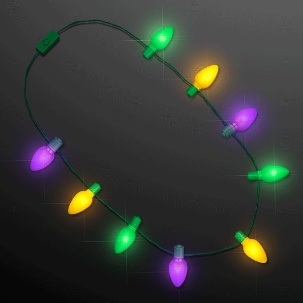 PERFECT for Mardi Gras and New Year/'s Eve! Flashing Light Up LED Bead Necklace