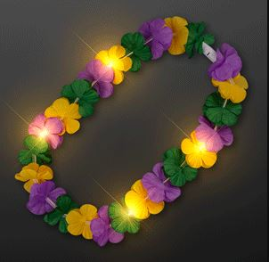 Mardi Gras Lei Light Up Flower Necklace or for a Luau