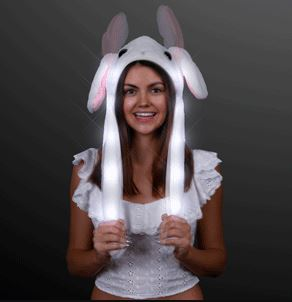 LED White Moving Blinking Bunny Ears Hat for Halloween