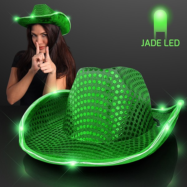 Green Light Up Cowboy Hats (Pack of 6) Cowboy, western, hats, party favor, new years eve, decoration, green, inexpensive, wholesale, bulk