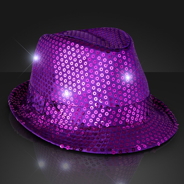 Purple Light Up Fedoras (Pack of 6) Purple, Party Hats, Fedoras, Hats, Glow in the Dark, Light up, Sequined Fedoras, New Years Eve, Mardi Gras, Wholesale party supplies, Bulk packs, Inexpensive party favors