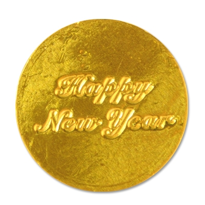 Chocolate Happy New Year Coins (Pack of 50) Chocolate Happy New Year Coins , chocolate, party favor, new years eve, wholesale, inexpensive, bulk