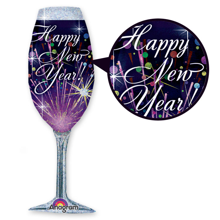 Champagne Glass Mylar Balloon (Pack of 10) Champagne, glass, mylar, balloon, new years eve, wholesale, decoration, inexpensive, bulk
