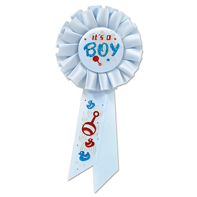 Its A Boy Light blue Rosette with red and dark blue metallic lettering and baby image designs