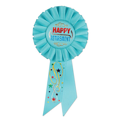 Happy Retirement Blue Rosette with red and blue metallic lettering and star/swirl designs