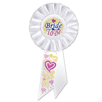 Bride To Be White Rosette with blue and pink metallic lettering and heart/swirl designs