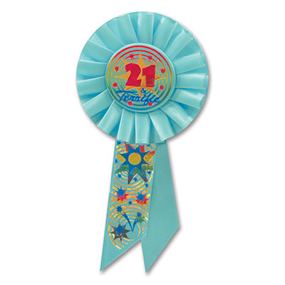21 & Terrific Light Blue Rosette with rainbow of colors of metallic lettering and designs of stars/swirls