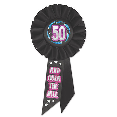 50 & Over The Hill Rosette (Pack of 6)