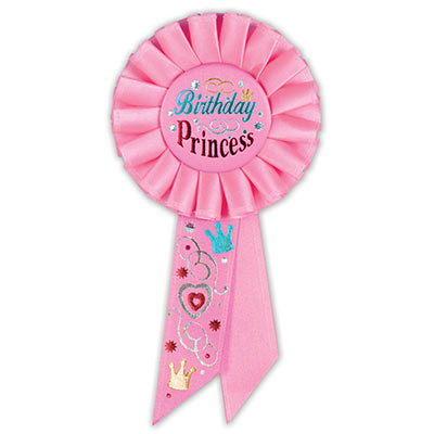Birthday Princess Pink Rosette with fancy metallic lettering and hearts, swirls, crowns and star designs