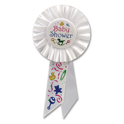 Baby Shower White Rosette with multi colors of lettering, baby images and designs