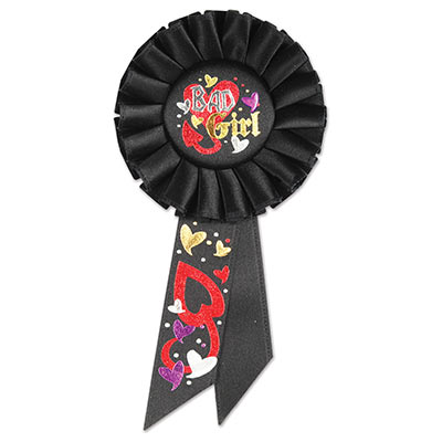 Bad Girl Black Rosette with bold silver and gold lettering red, purple, and white hearts