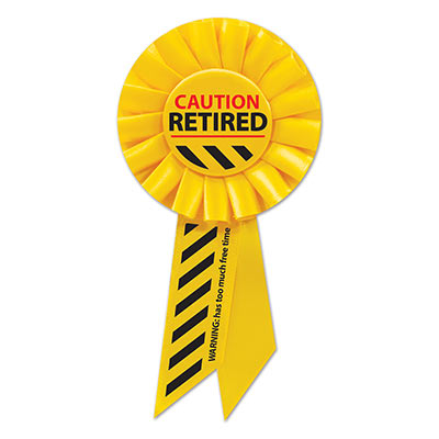 Caution Retired Yellow Rosette with bold red and black lettering
