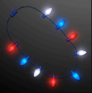 Necklace with red, white and blue light bulbs that lights up.