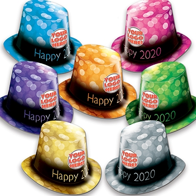 bright colored customizable New Years Eve Party Hats that read Happy New Year 2020